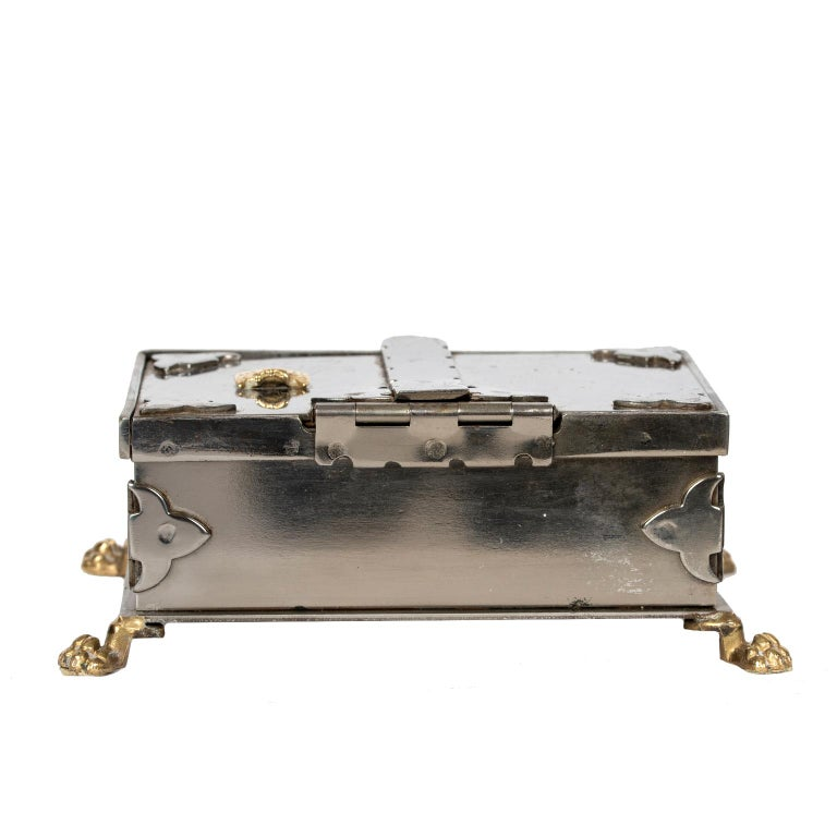 Italian Steel and Brass Document Box, Italy, circa 1970 For Sale