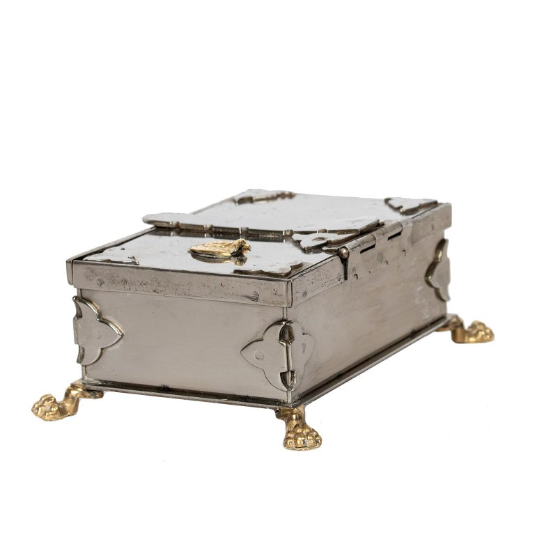 Polished Steel and Brass Document Box, Italy, circa 1970 For Sale