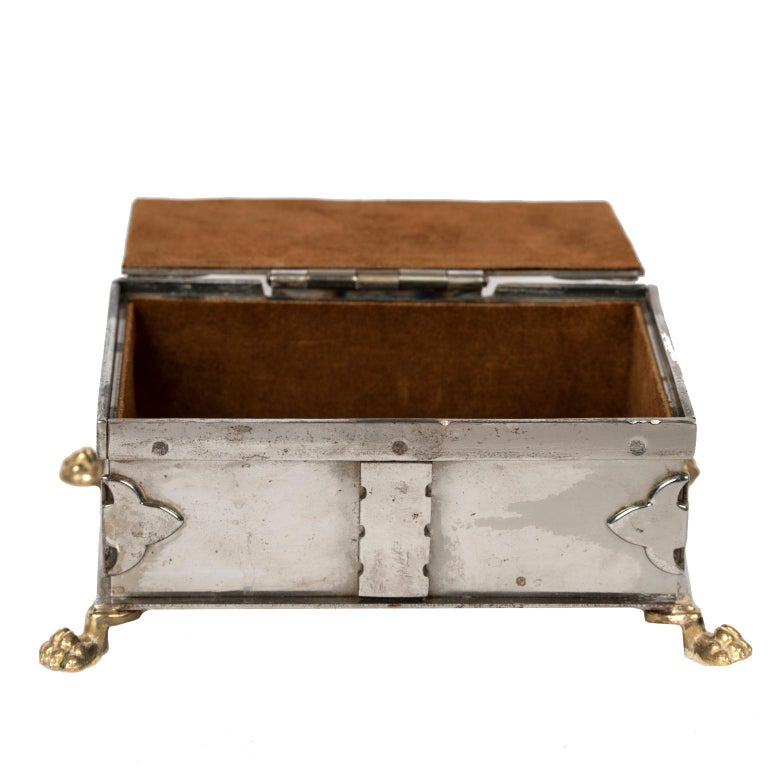 Late 20th Century Steel and Brass Document Box, Italy, circa 1970 For Sale