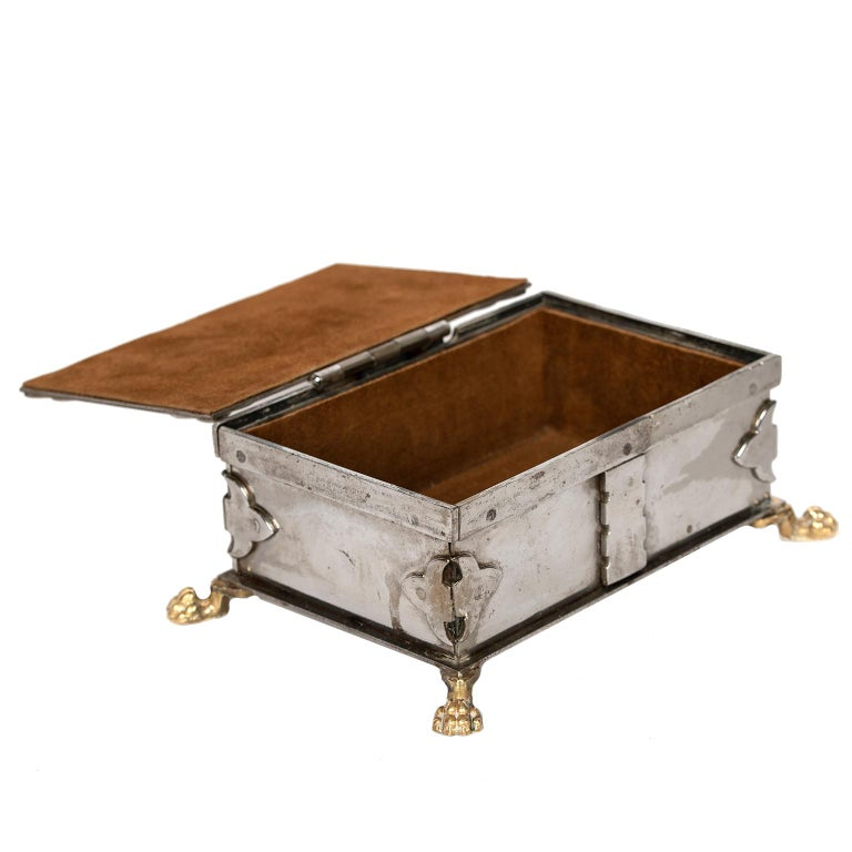 Stainless Steel Steel and Brass Document Box, Italy, circa 1970 For Sale