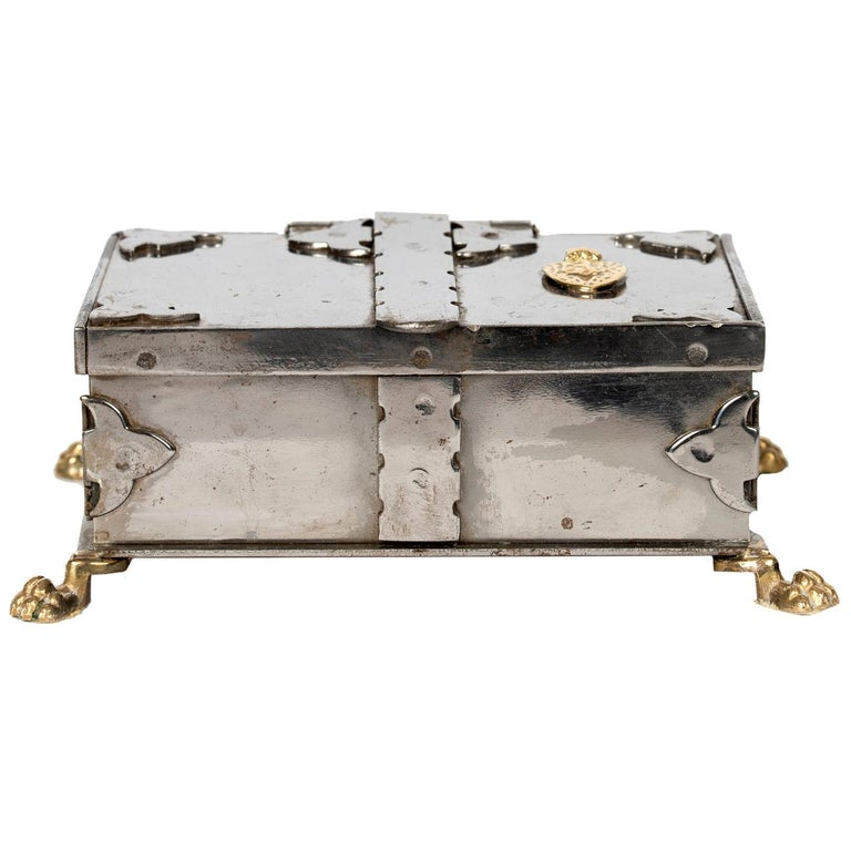 Steel and Brass Document Box, Italy, circa 1970 For Sale