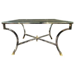 Steel and Brass Maison Jansen Coffee or Low Table