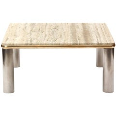 Steel and Brass Travertine Table