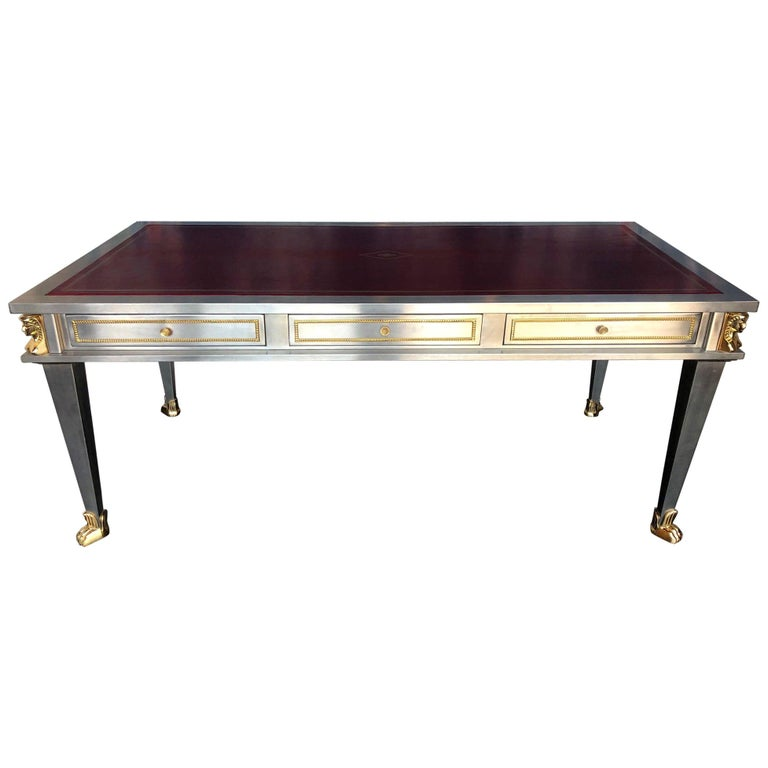 Steel and Bronze Dore Desk by John Vesey For Sale
