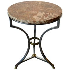 Steel and Bronze Jansen Claw Foot Bouilliotte or End Table with a Marble Top