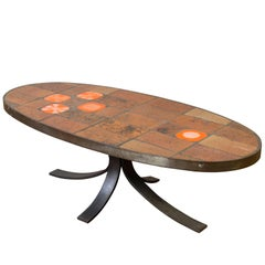 Steel and Ceramic Tile Oval Coffee Table