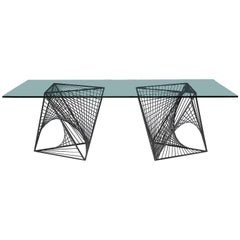 Steel and Glass Modernist Dining Table