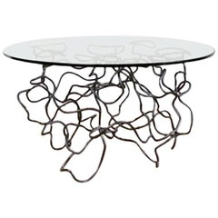 "Steel and Glass ""Scribble"" Side Table by Rebecca Welz"