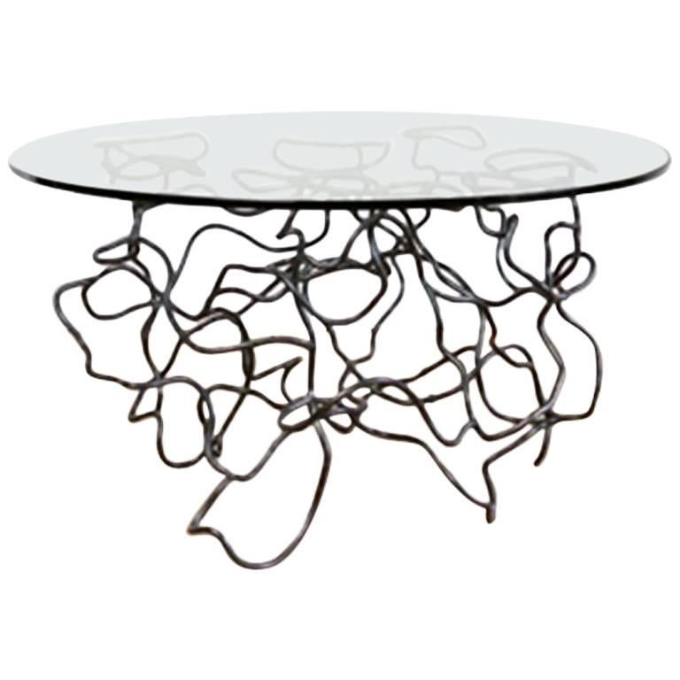 """Steel and Glass """"Scribble"""" Side Table by Rebecca Welz For Sale"""