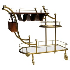 Steel and Leather Bar Cart by The Lockhart Collection
