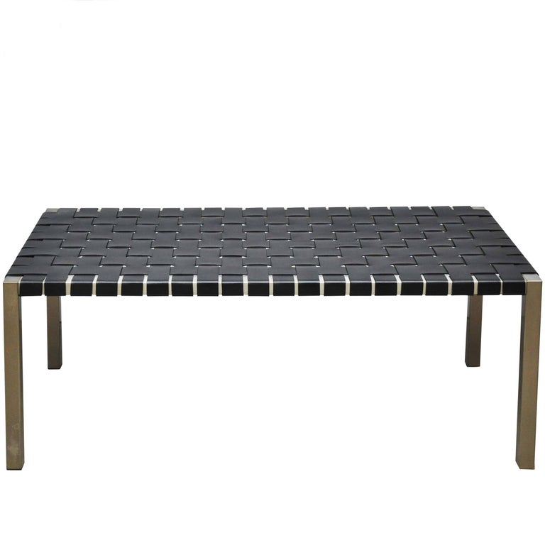 Steel and Leather Strap Bench