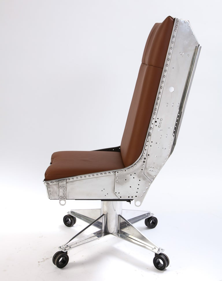 Steel and Leather-Upholstered Swivel Chair, Modern For Sale 5