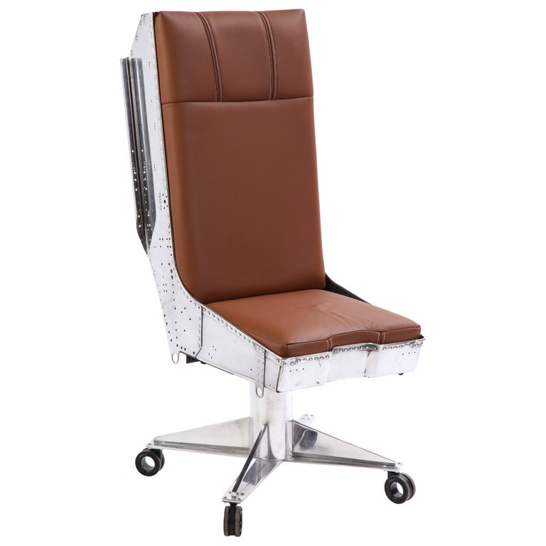 Steel and Leather-Upholstered Swivel Chair, Modern For Sale