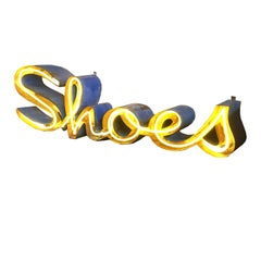 "Steel and Neon ""Shoes"" Wall Display Sign"