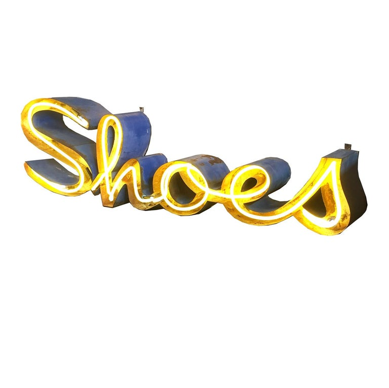"""Steel and Neon """"Shoes"""" Wall Display Sign For Sale"""