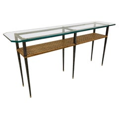 Steel and Rattan Console Table by Maitland Smith