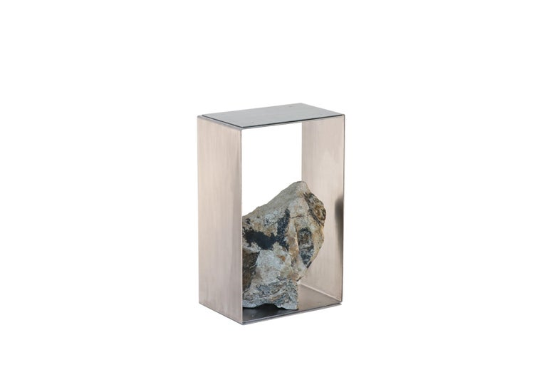 Steel and stone side table by Batten and Kamp