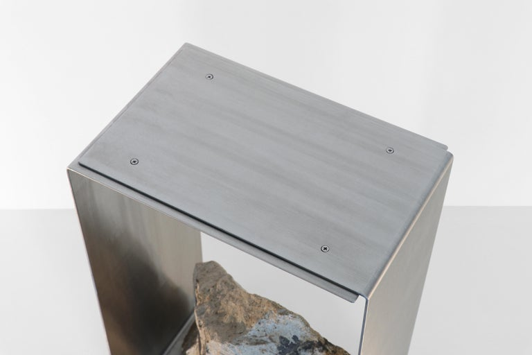 Modern Steel and Stone Side Table by Batten and Kamp For Sale