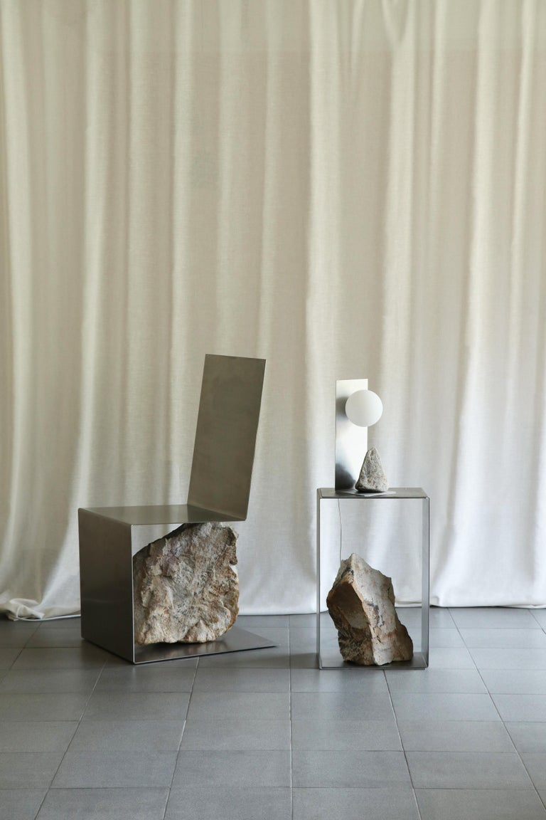 Steel and Stone Side Table by Batten and Kamp For Sale 2