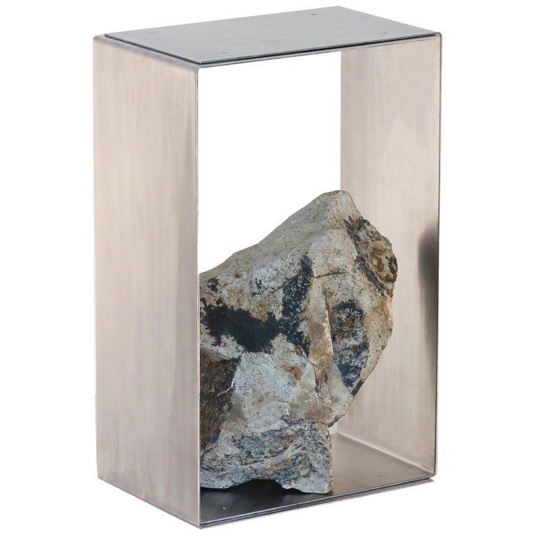 Steel and Stone Side Table by Batten and Kamp For Sale