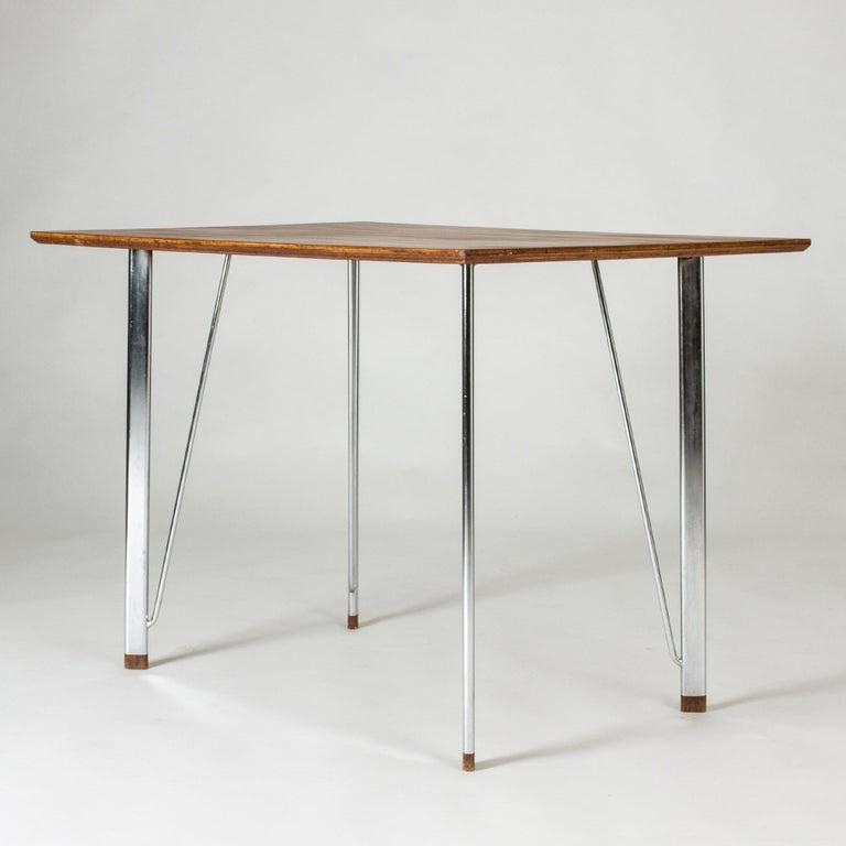 Mid-20th Century Steel and Teak Desk by Arne Jacobsen for Fritz Hansen. Denmark, 1960s For Sale