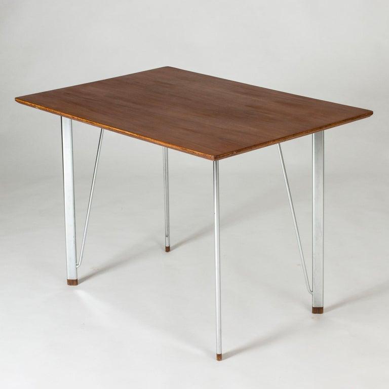 Steel and Teak Desk by Arne Jacobsen for Fritz Hansen. Denmark, 1960s For Sale 1