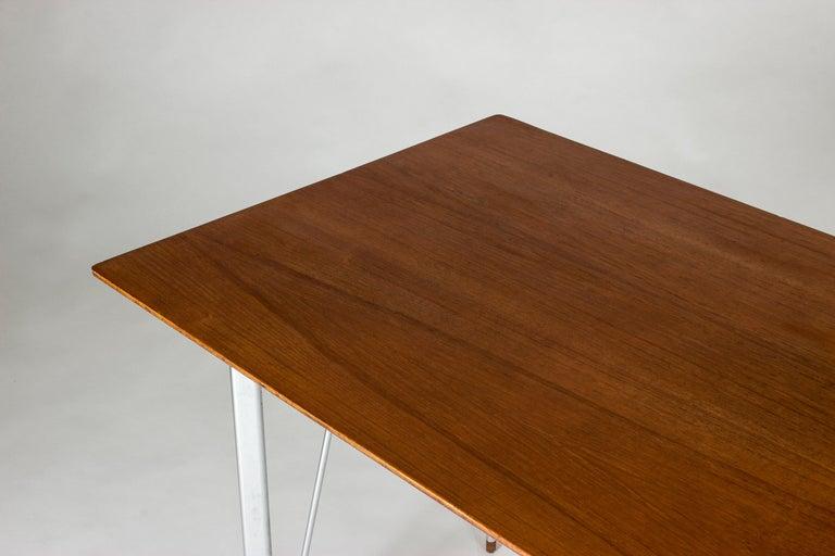 Steel and Teak Desk by Arne Jacobsen for Fritz Hansen. Denmark, 1960s For Sale 2