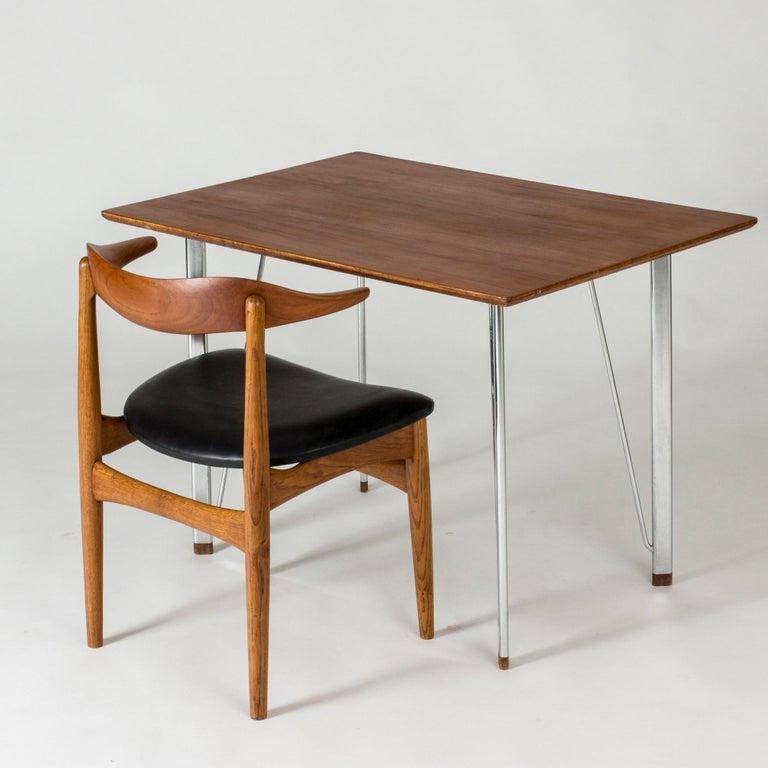 Steel and Teak Desk by Arne Jacobsen for Fritz Hansen. Denmark, 1960s For Sale 3
