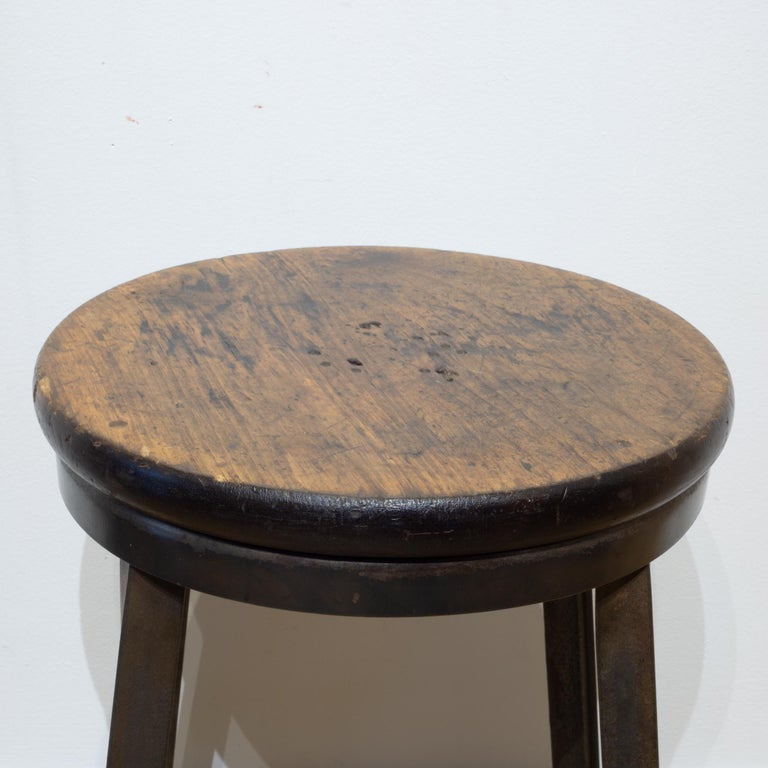 Rustic Steel and Walnut Counter Stools, circa 1960-1990