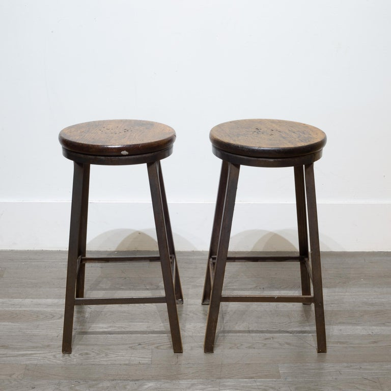 Pressed Steel and Walnut Counter Stools, circa 1960-1990