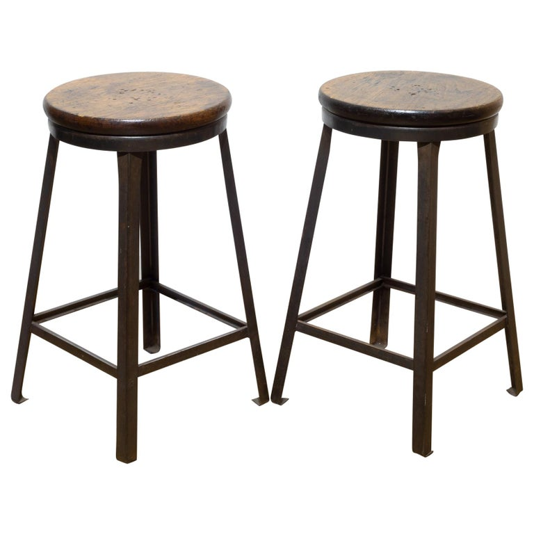 Steel and Walnut Counter Stools, circa 1960-1990