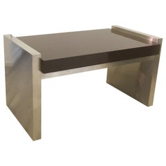 Steel and Wood Desk, Italy, 1985, Signed