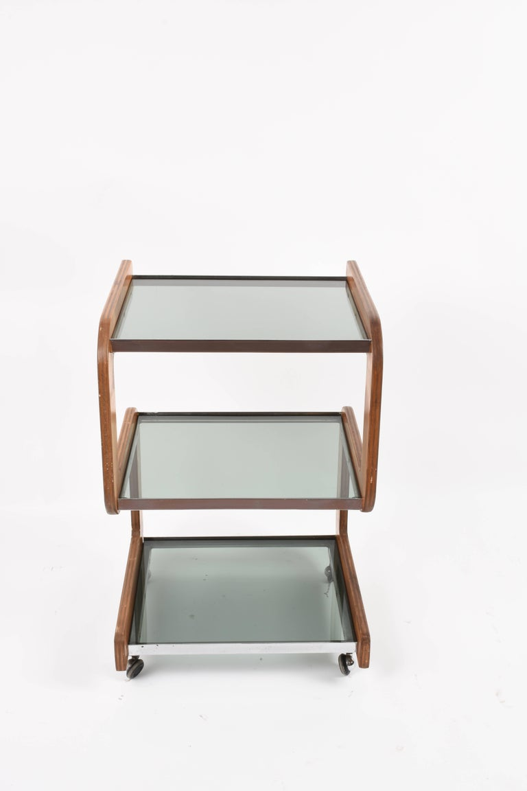 Mid-Century Modern Steel and Wood Italian Bar Trolley with Three Smoked Glass Shelves, 1970s For Sale