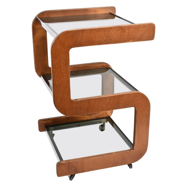 Steel and Wood Italian Bar Trolley with Three Smoked Glass Shelves, 1970s For Sale