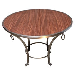 Contemporary Zebra Wood Dining / Game / Center Table with Steel Frame