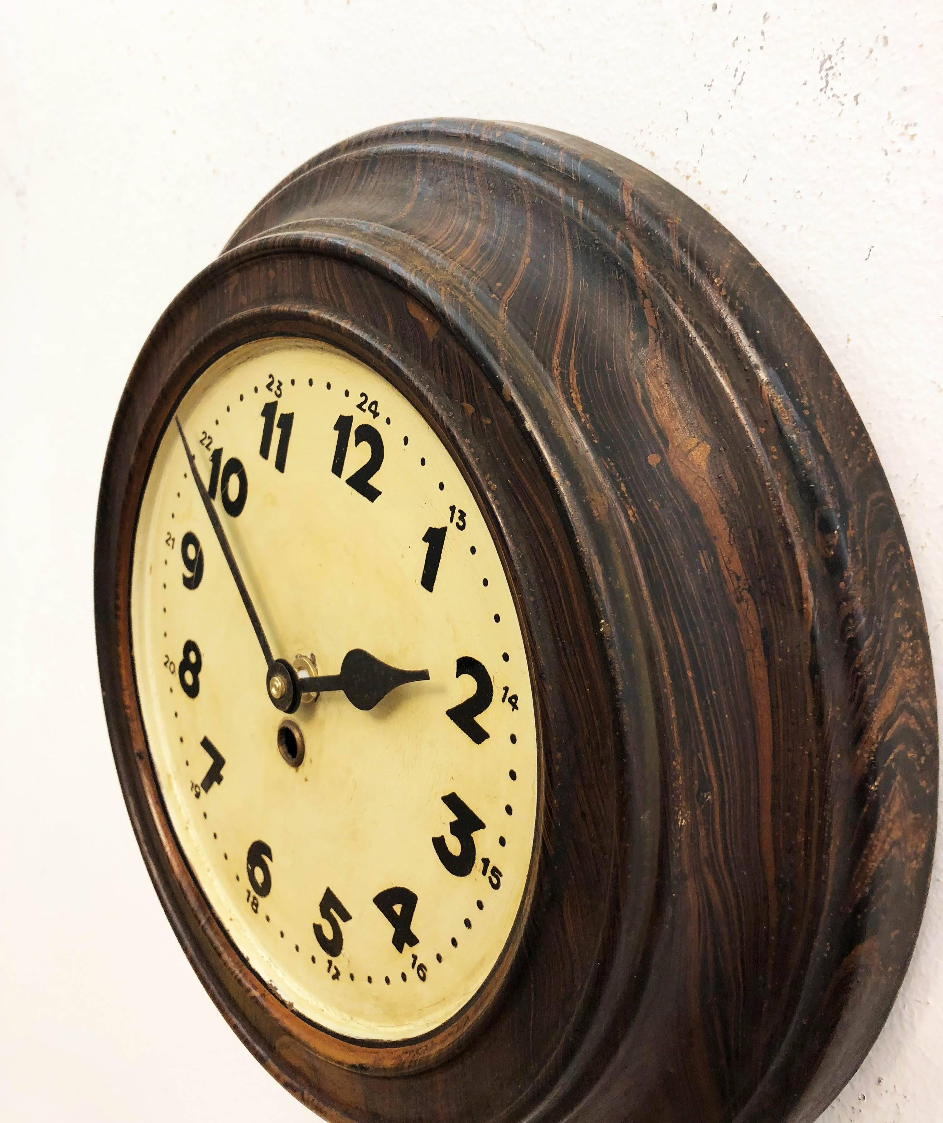 Steel Art Deco Wall Clock For Sale at 1stdibs