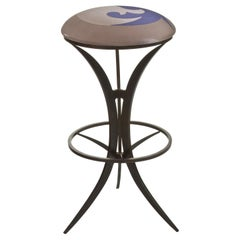 Steel Bar Stool Customizeable with, Textured Glass, Wood or Upholstered Seats