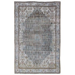 Steel Blue and Taupe Antique Persian Malayer Rug with Medallion Design