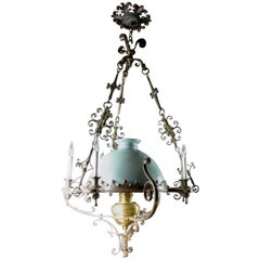 Steel Brass and Glass Oil Light Chandelier in the Spanish Style