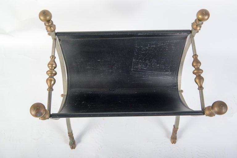 Mid-20th Century Steel, Brass & Leather Maison Jansen Style Magazine Stand For Sale