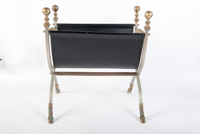Steel, Brass & Leather Maison Jansen Style Magazine Stand For Sale 2
