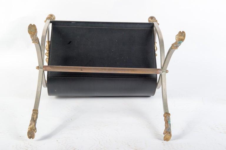 Steel, Brass & Leather Maison Jansen Style Magazine Stand For Sale 4