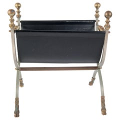 Steel, Brass & Leather Maison Jansen Style Magazine Stand