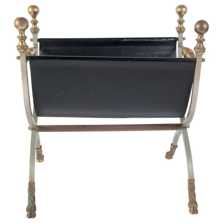 Steel, Brass & Leather Maison Jansen Style Magazine Stand For Sale
