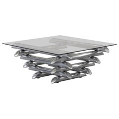 Steel Coffee Table attributed to Willy Rizzo, 1970s