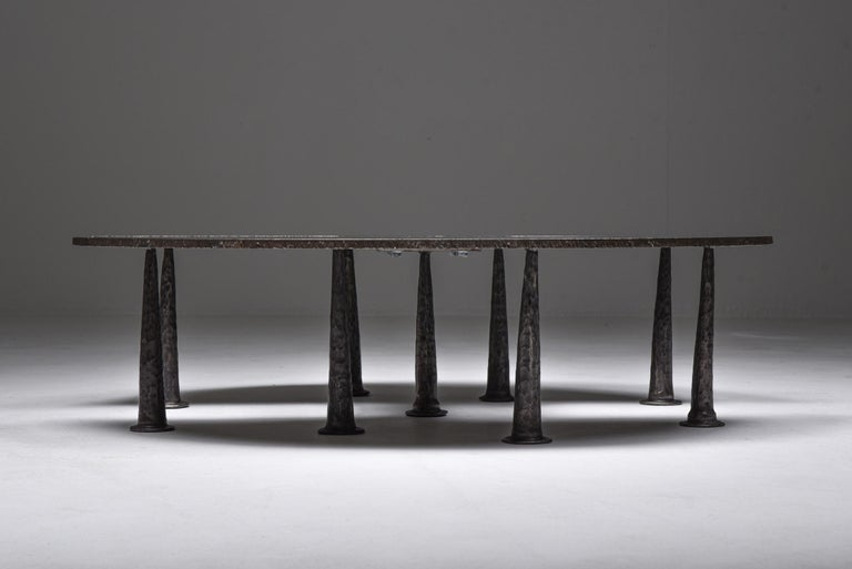 Brutalism, collectible design, Thomas Serruys coffee table, 2019  This unique piece, made out of steel, and has an Industrial and Brutalist approach. Out of his Resourcer series this table is the most serene and also the first produced. Would