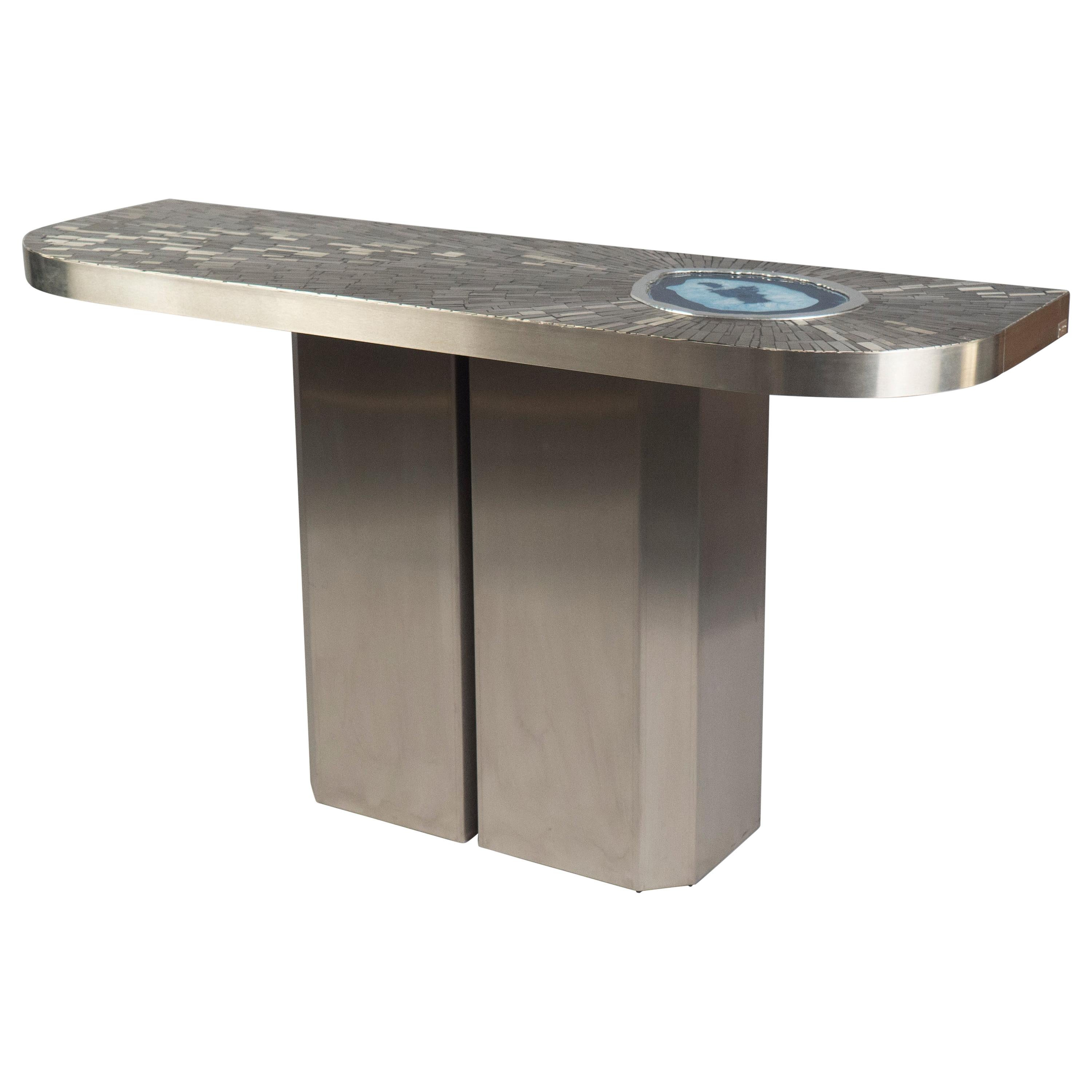 Steel Console Featuring Blue Agate by Stan Usel, Belgium, 2016