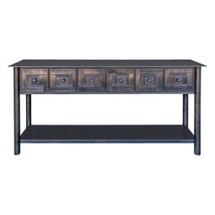 Jim Rose Steel Furniture - Steel Console Table with Shelf, Monochromatic Design