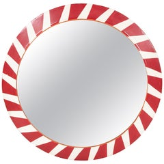 Steel Convex Red and White Railroad Mirror, Large Scale
