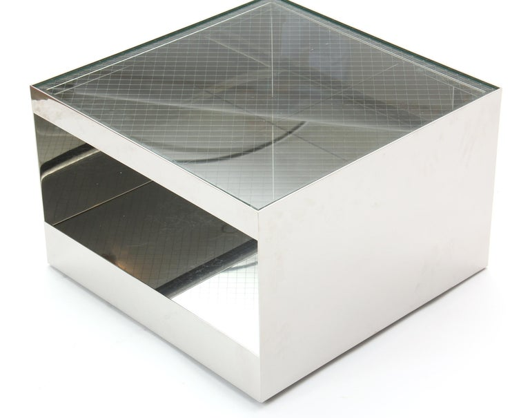 Mid-Century Modern 1970s Steel Cube-Form End or Low Table by Joe d'Urso for Knoll For Sale